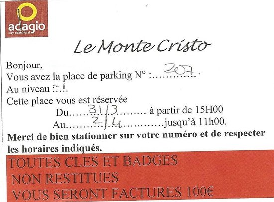 Adagio City Aparthotel Monte Cristo: le parking