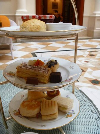 The Imperial Hotel: Three tiered plate per person- scones with jam and cream, assorted sweet treats and savouries.