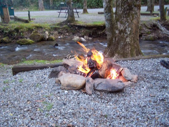 Moonshine Creek Campground: Our campfire by the stream