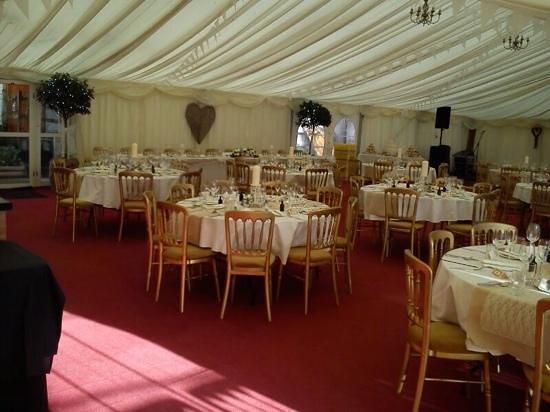 Boulston Manor: the marquee all set up for the reception