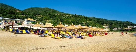 Loukas Hotel: Sunbeds - Umbrellas