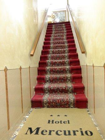 Hotel Mercurio Venezia : Вход в отель. По всему отелю такие лестницы, номера на третьем этаже
