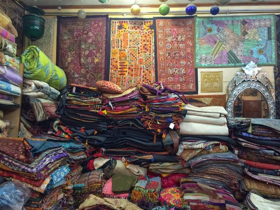 Ganesh Handicrafts : The 2nd floor of the shop - textiles galore!