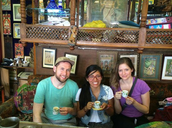 My friends and I having chai at Ganesh Handicrafts after making our purchases