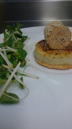 L'Eveil des Sens : Foie gras en croûte de sésame, crème brûlée aux topinambours