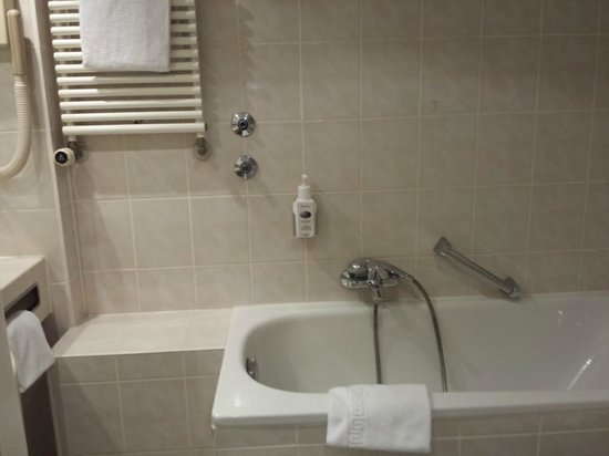 Hotel Daniel: No shower curtain or panel