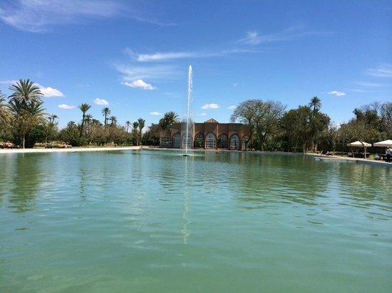 Pullman Marrakech Palmeraie Resort and Spa : Bassin et bâtiment du spa