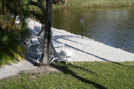 Marco Island Lakeside Inn: Aussicht von der Veranda auf den kleinen Strand