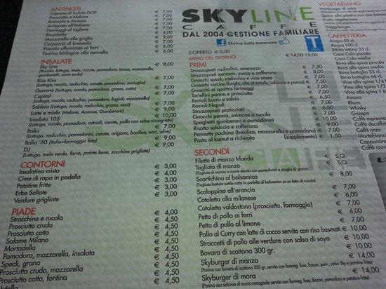Skyline Caffe Ristorante: Tovaglietta con il menù