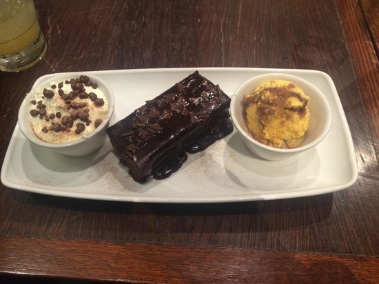 Coast to Coast: Chocolate Brownie with honeycomb ice cream and cream recommend