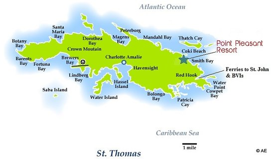 Location on St. Thomas map - Picture of Point Pleasant Resort, East ...