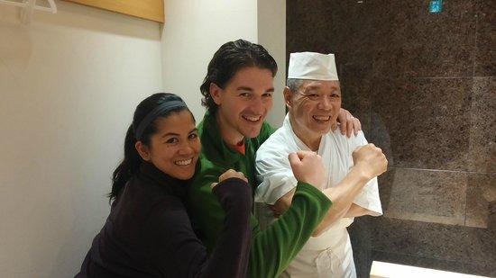 Sushi Bar Yasuda: My wife and I with Yasuda
