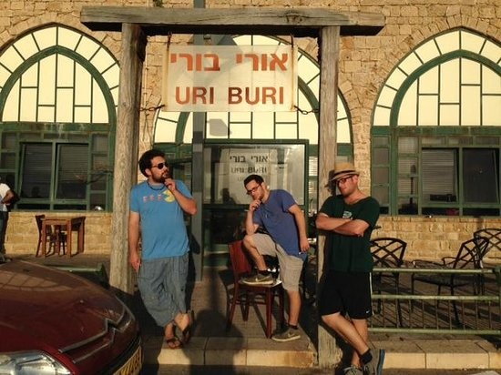 uri buri: my 3 sons in front of the restaurant