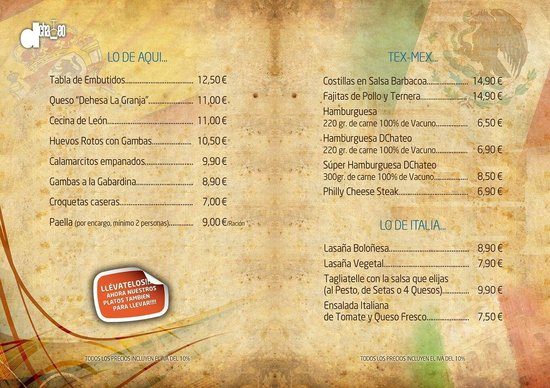 DChateo Cafe & Wine Bar: Nuestra carta