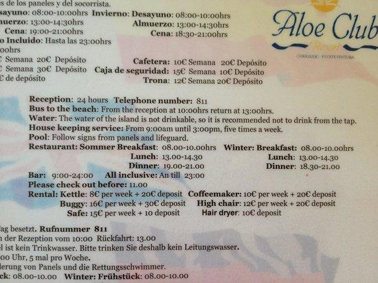 LABRANDA Aloe Club Resort : hotel guide found in the room