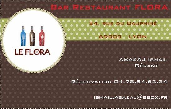 Bar Restaurant Flora Carte De Visite