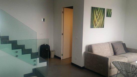 Hotel Marina Piccola : From window toward living area and bathroom door