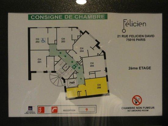 Hotel Félicien by Elegancia : plan de l'étage
