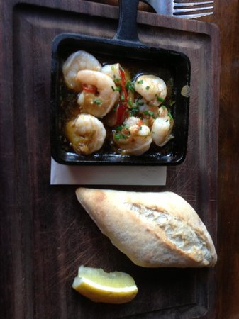 The Cornstore: Starters-- prawns in chili and olive oil