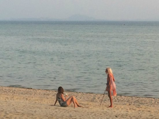 Morning Star Resort: My GF talking to a random guru passing by. We had the beach to our self most of the time.