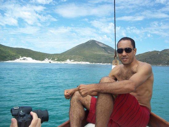 Praia Grande Beach: Na ponta do barco do Saveiro Don Juan