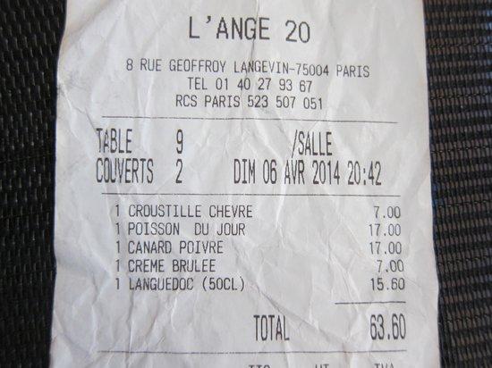 L'Ange 20 Restaurant : Bill