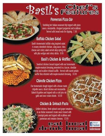 Basil's Restaurant: Chef's Features Begin 04/25/14