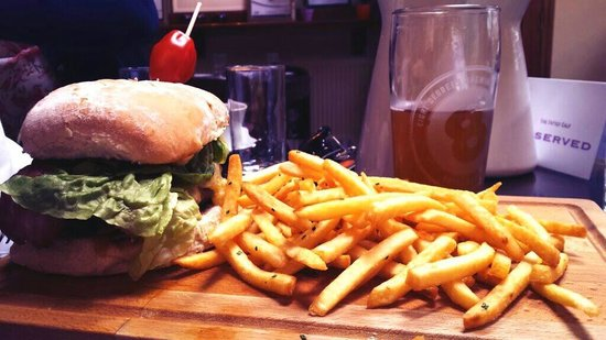 The Fatted Calf Restaurant: 30 day aged beef burger with great fries and a nice pint!