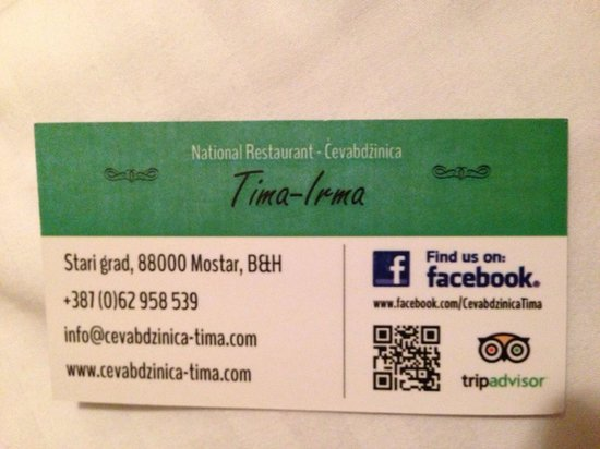 National Restaurant Cevabdzinica Tima - Irma: Her card. She earned it!