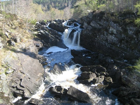 Rogie Falls: Water rushing over the Falls of Rogie