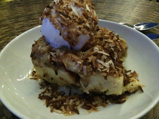 Bogey's Steak & Seafood: White Chocolate Coconut Bread Pudding, you must try!