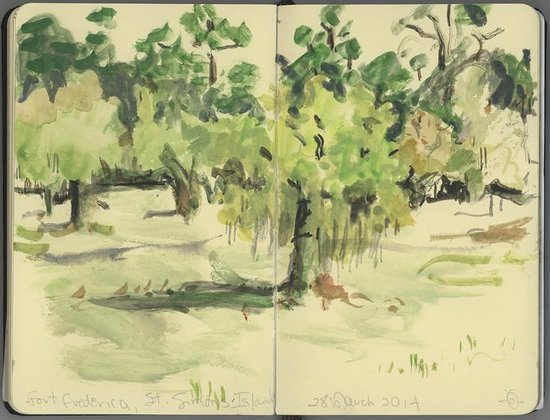 Fort Frederica National Monument : Fort Frederica grounds--a watercolor sketch