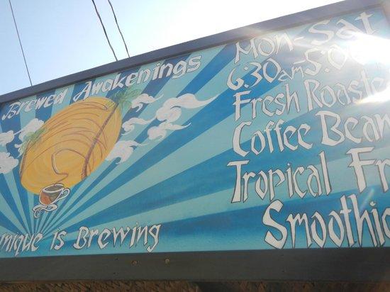 Brewed Awakenings: Outside billboard