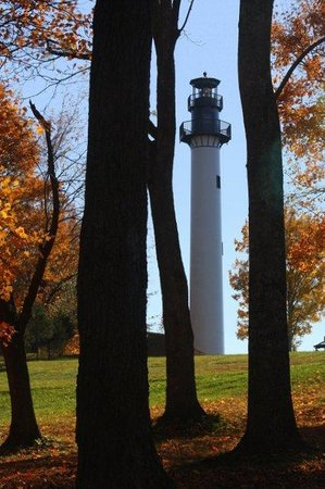 Summersville Lake Lighthouse: Lighthouse through the trees