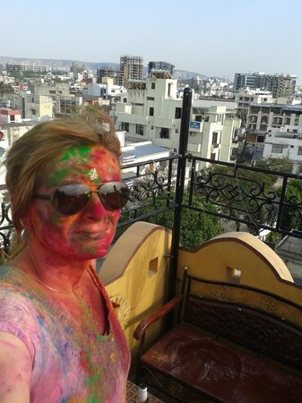 Hotel Pearl Palace: An amazing day at Holi from the Peacock Roof Top Restaurant