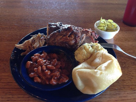 Sonny Bryan's Smokehouse: 3 Meat Combo with potato salad & BBQ beans.