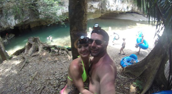 Cave Tubing and Jungle Trek Tour: Us with our gear on. Which they provide!