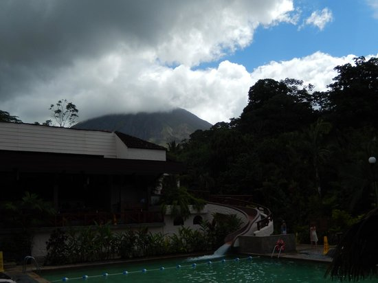 Tabacon Hot Springs: View from the hot pools of the volcano