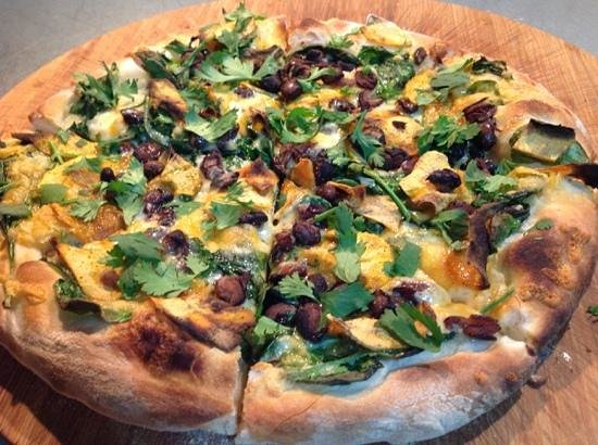 Rescoldos Mediterranean Bistro : sweet potato, black bean, cilantro, mexican cheese blend pizza