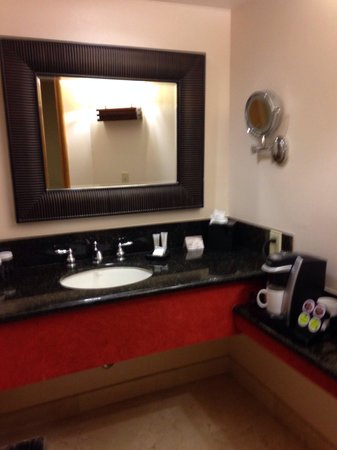 Fountaingrove Inn: The beautiful bathroom with a Keurig coffeemaker, it doesn't get much better than that! :)