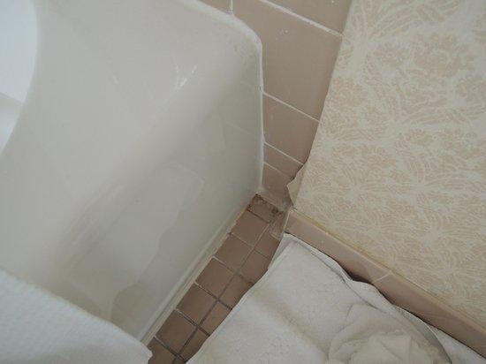 Churchill Hotel Near Embassy Row: Wallpaper coming off; dirty floor