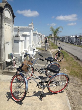FreeWheelin' Bike Tours : Getting some history at a cemetery