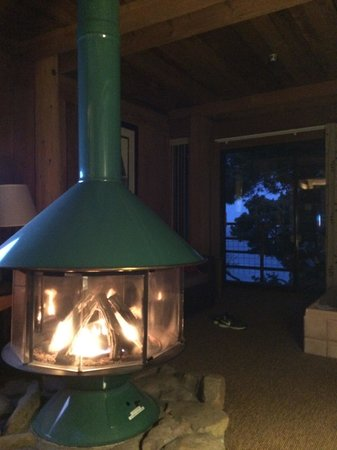 Timber Cove Resort: Fire pit in our room. View out the window from the bed. As of April 2014.