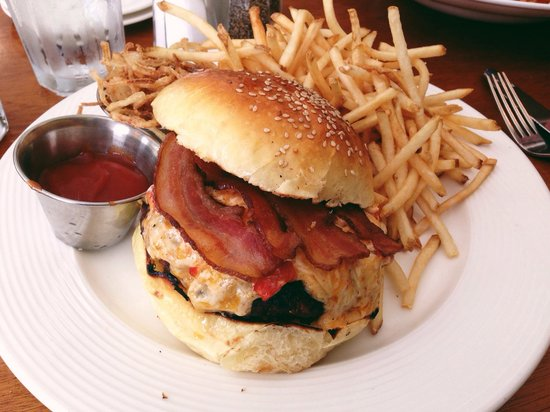 Cru Cafe: A special of the day - pimento cheese burger with bacon and fried shallots. The French fries are