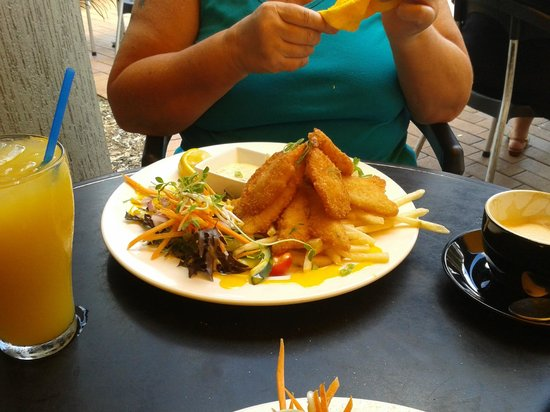 The Black Dog Cafe: Whiting and Prawn with chips and salad
