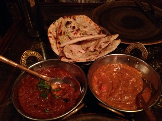 Krishna 13 : Chicken masala and butter chicken. Garlic and cheese naan