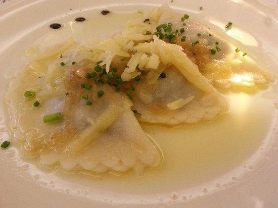 Hotel Therme Meran: i ravioli con spinaci: molto buoni