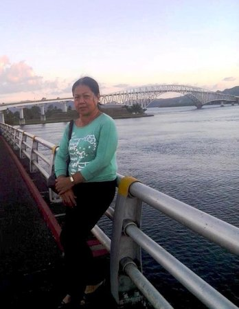 San Juanico Bridge: the author  posing with her  favorite view of the bridge ...