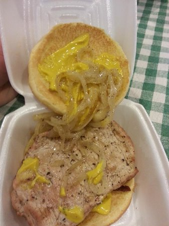 Maxwell's Hotdogs: Maxwell St Pork Chop Sandwich: Pork Chop light and processed looking, onions watery