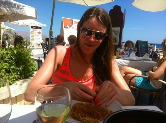 Restaurante Juan Abril - Cocina Española: Wrestling with a Langoustine in the Sun.